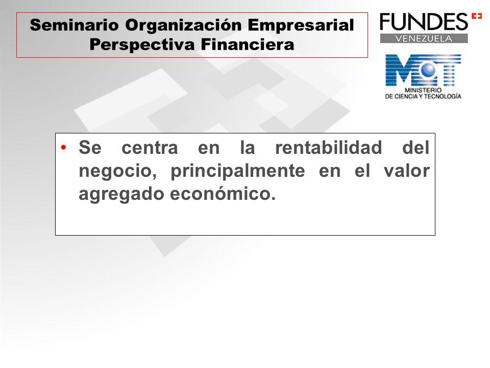 Se centra en la rentabilidad del negocio, principalmente en el valor agregado económico. Seminario Organización Empresarial Perspectiva Financiera
