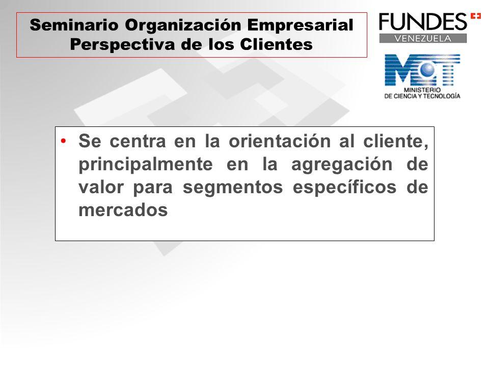 Se centra en la orientación al cliente, principalmente en la agregación de valor para segmentos específicos de mercados Seminario Organización Empresa