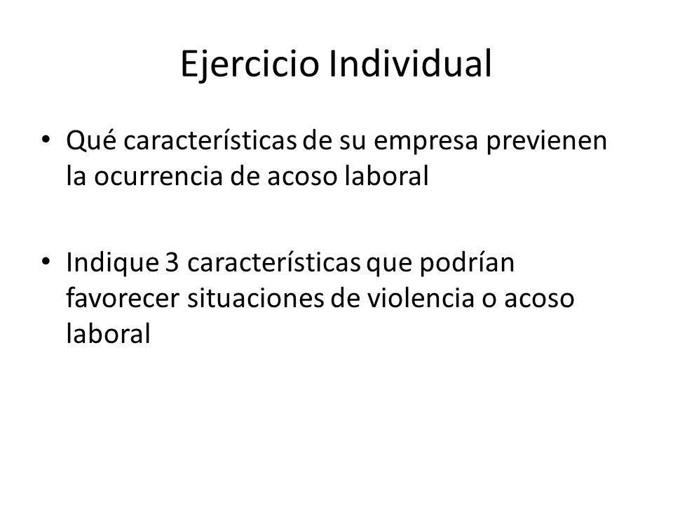 Ejercicio Individual Qué características de su empresa previenen la ocurrencia de acoso laboral Indique 3 características que podrían favorecer situac
