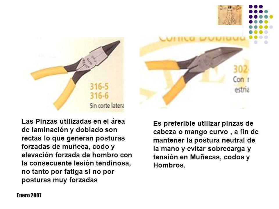 Enero 2007 Las Pinzas utilizadas en el área de laminación y doblado son rectas lo que generan posturas forzadas de muñeca, codo y elevación forzada de