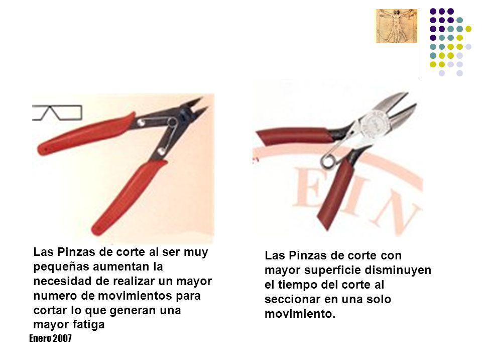Enero 2007 Las Pinzas de corte al ser muy pequeñas aumentan la necesidad de realizar un mayor numero de movimientos para cortar lo que generan una may