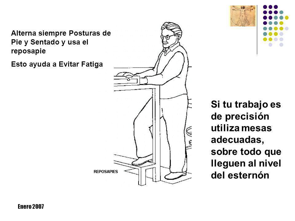 Enero 2007 Alterna siempre Posturas de Pie y Sentado y usa el reposapie Esto ayuda a Evitar Fatiga Si tu trabajo es de precisión utiliza mesas adecuad