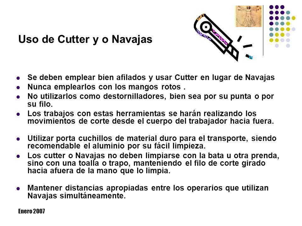 Enero 2007 Uso de Cutter y o Navajas Se deben emplear bien afilados y usar Cutter en lugar de Navajas Nunca emplearlos con los mangos rotos. No utiliz