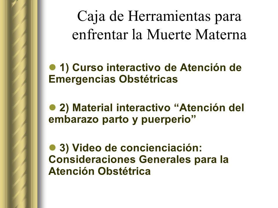 Caja de Herramientas para enfrentar la Muerte Materna 1) Curso interactivo de Atención de Emergencias Obstétricas 2) Material interactivo Atención del