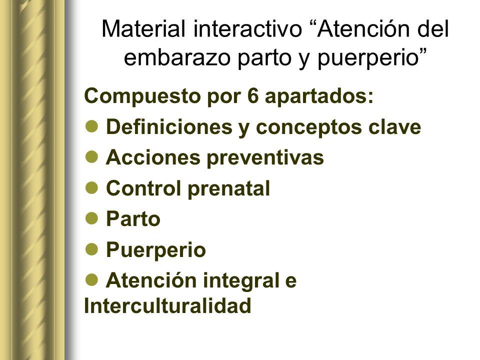 Material interactivo Atención del embarazo parto y puerperio Compuesto por 6 apartados: Definiciones y conceptos clave Acciones preventivas Control pr