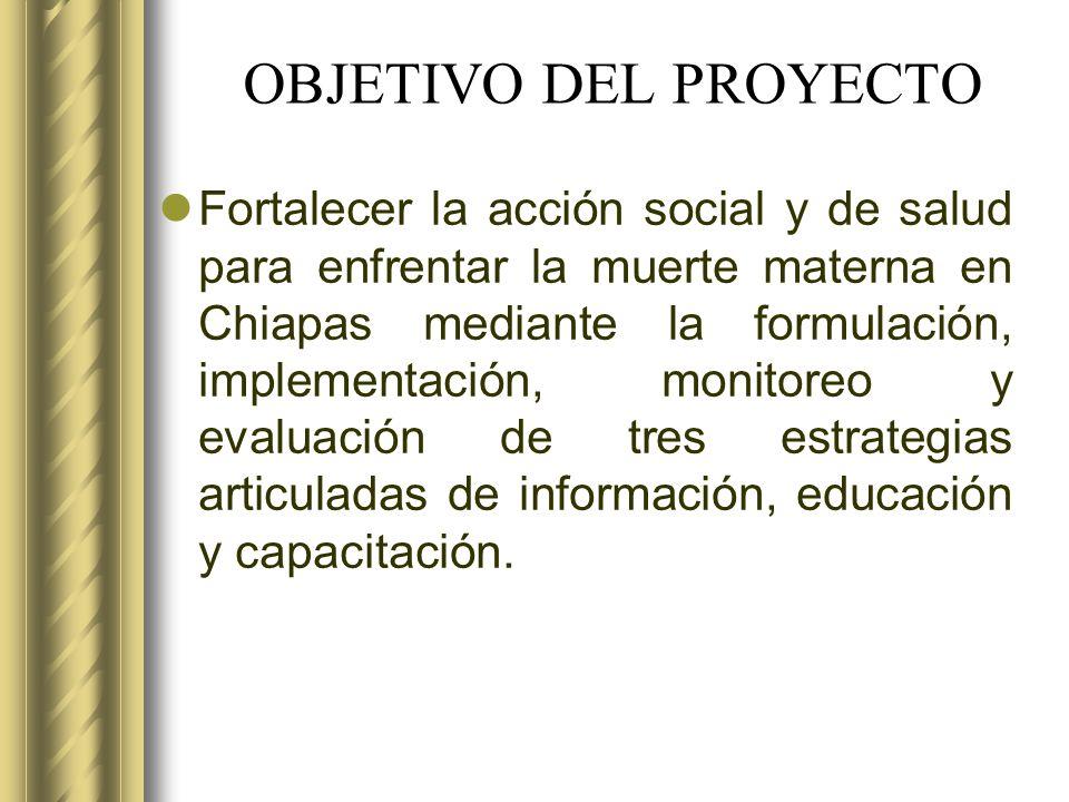 OBJETIVO DEL PROYECTO Fortalecer la acción social y de salud para enfrentar la muerte materna en Chiapas mediante la formulación, implementación, moni