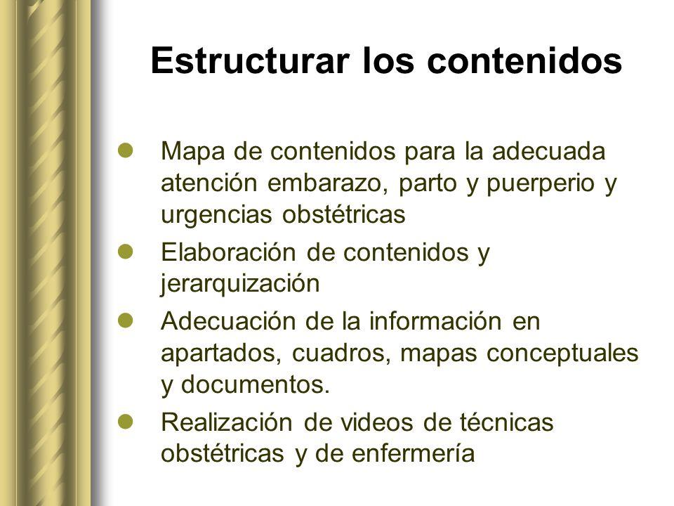 Estructurar los contenidos Mapa de contenidos para la adecuada atención embarazo, parto y puerperio y urgencias obstétricas Elaboración de contenidos