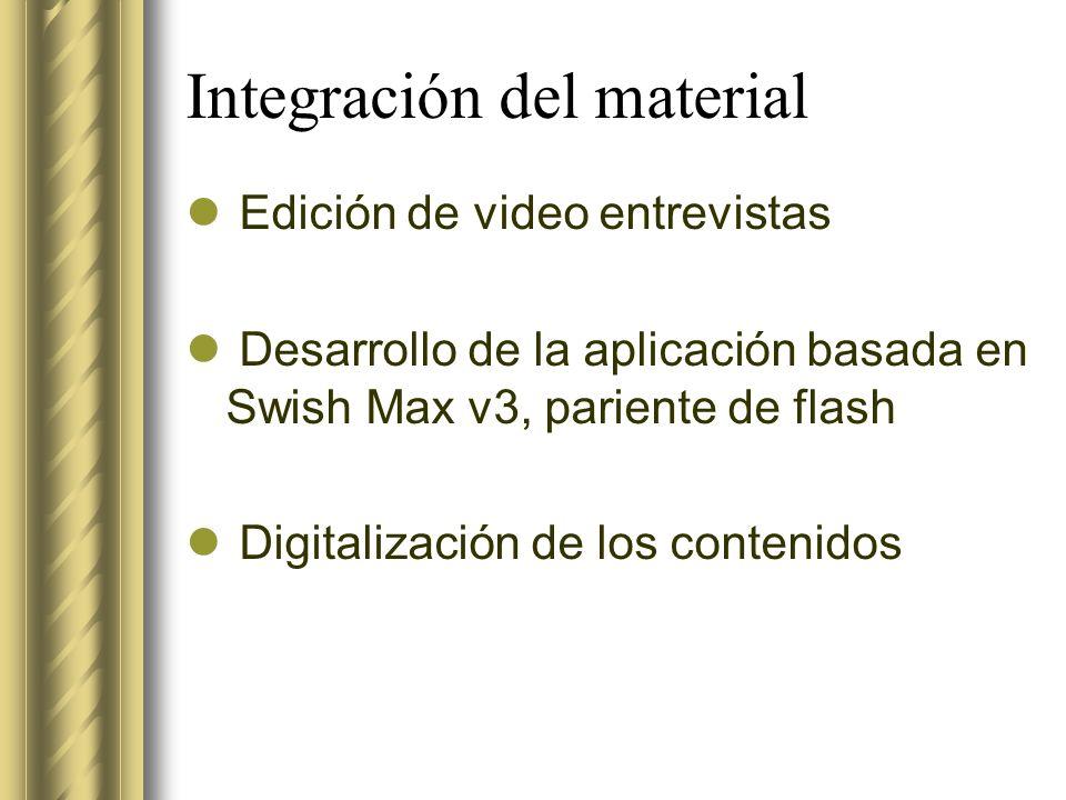 Integración del material Edición de video entrevistas Desarrollo de la aplicación basada en Swish Max v3, pariente de flash Digitalización de los cont