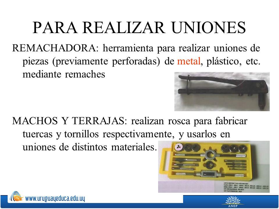 PARA REALIZAR UNIONES REMACHADORA: herramienta para realizar uniones de piezas (previamente perforadas) de metal, plástico, etc. mediante remaches MAC