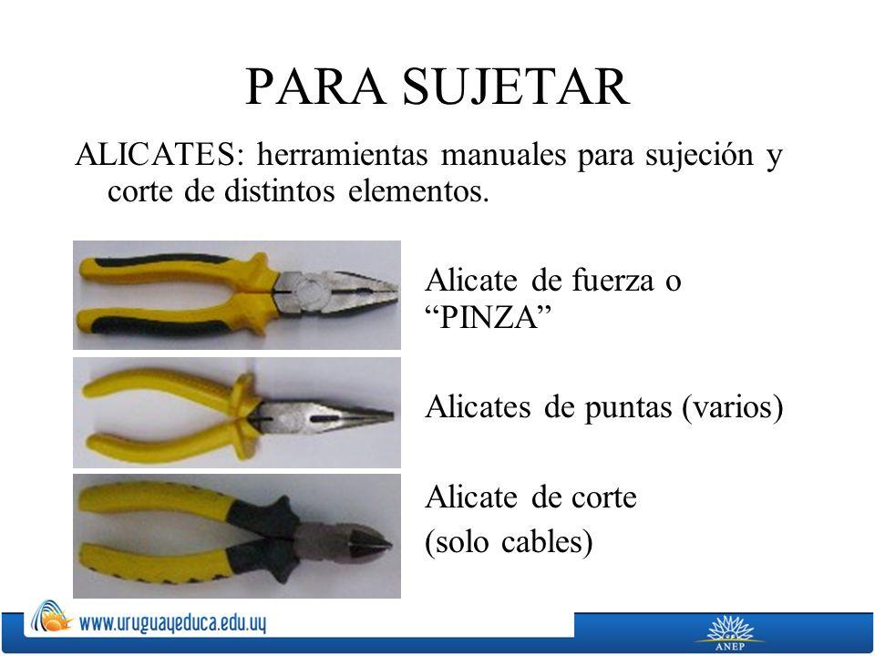 PARA SUJETAR ALICATES: herramientas manuales para sujeción y corte de distintos elementos. Alicate de fuerza o PINZA Alicates de puntas (varios) Alica
