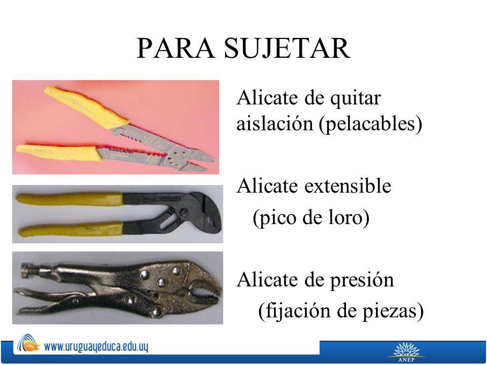 PARA SUJETAR Alicate de quitar aislación (pelacables) Alicate extensible (pico de loro) Alicate de presión (fijación de piezas)