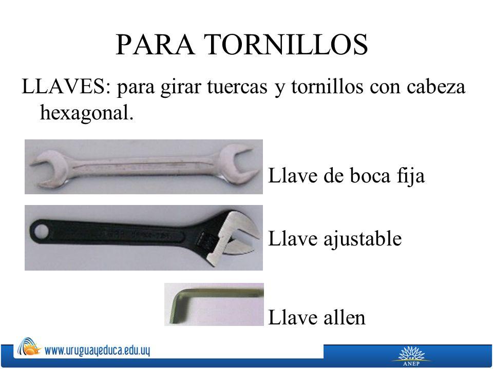 PARA TORNILLOS LLAVES: para girar tuercas y tornillos con cabeza hexagonal. Llave de boca fija Llave ajustable Llave allen