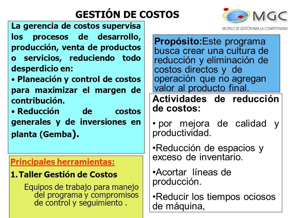 La gerencia de costos supervisa los procesos de desarrollo, producción, venta de productos o servicios, reduciendo todo desperdicio en: Planeación y c