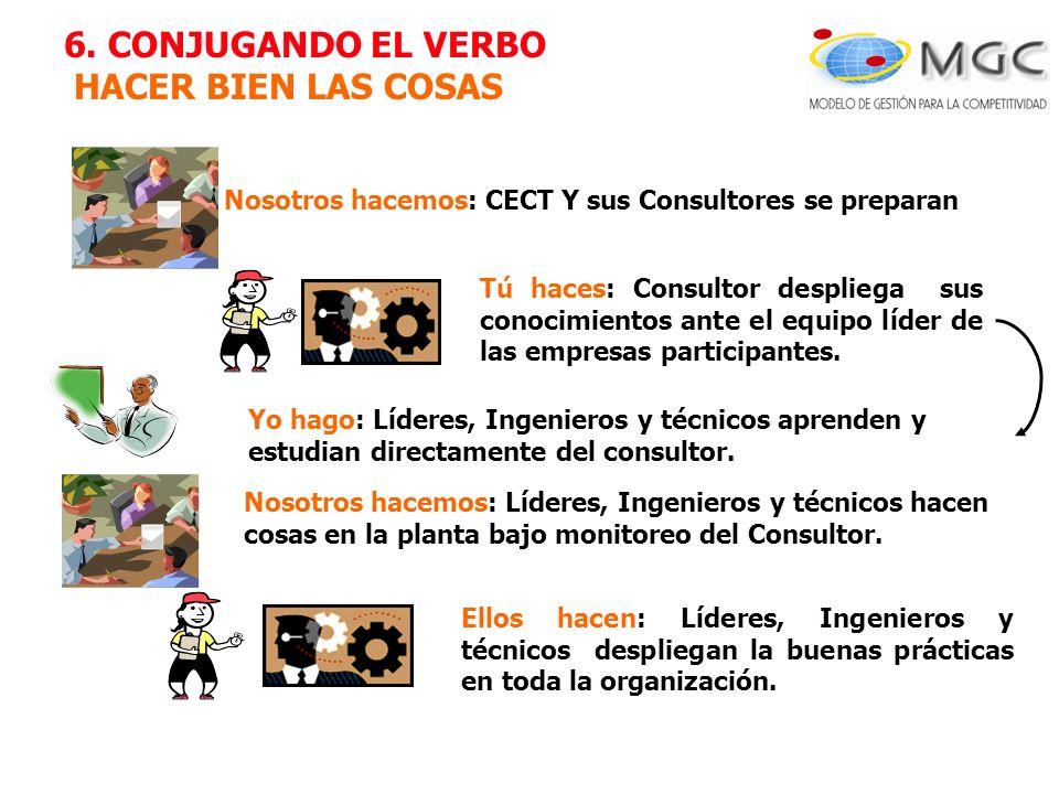 Nosotros hacemos: CECT Y sus Consultores se preparan Tú haces: Consultor despliega sus conocimientos ante el equipo líder de las empresas participante