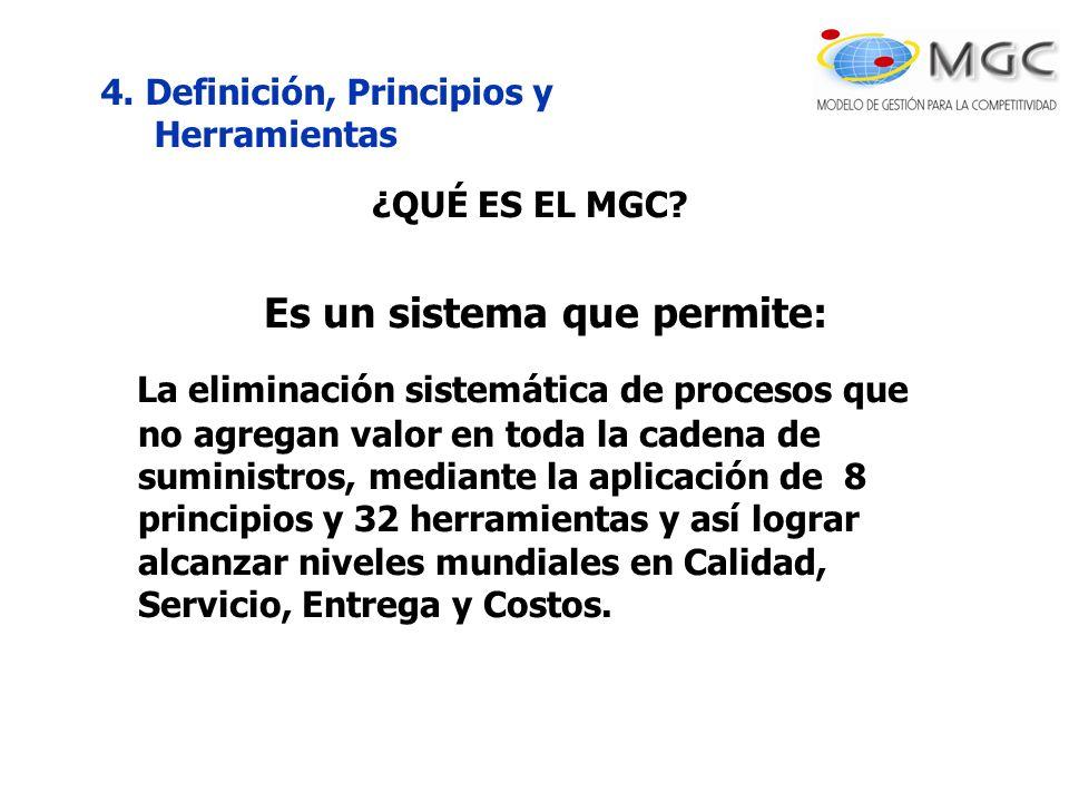 4. Definición, Principios y Herramientas ¿QUÉ ES EL MGC? Es un sistema que permite: La eliminación sistemática de procesos que no agregan valor en tod