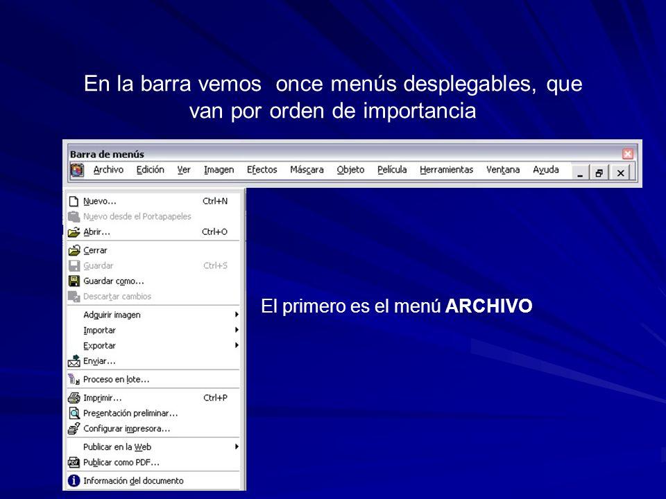 La siguiente barra se denomina estándar, ya que es utilizada en todos los programas soportados por Windows, con algunas variaciones en sus iconos Se resumen los iconos de los menús archivo, edición y ver, Se pueden realizar tareas como: Crear nuevo.Cortar.Deshacer.
