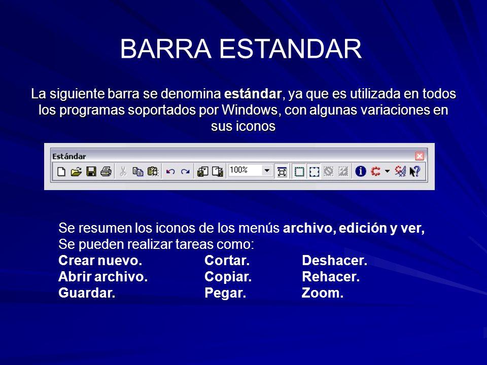 La siguiente barra se denomina estándar, ya que es utilizada en todos los programas soportados por Windows, con algunas variaciones en sus iconos Se r