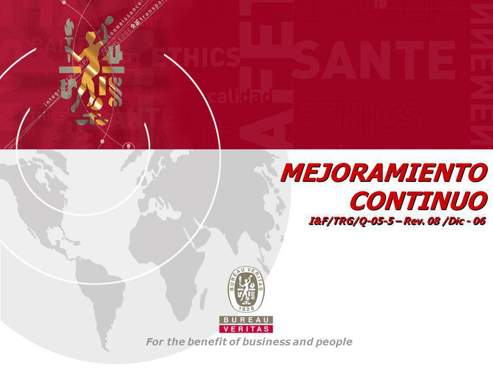 For the benefit of business and people MEJORAMIENTO CONTINUO I&F/TRG/Q-05-5 – Rev. 08 /Dic - 06 MEJORAMIENTO CONTINUO I&F/TRG/Q-05-5 – Rev. 08 /Dic -