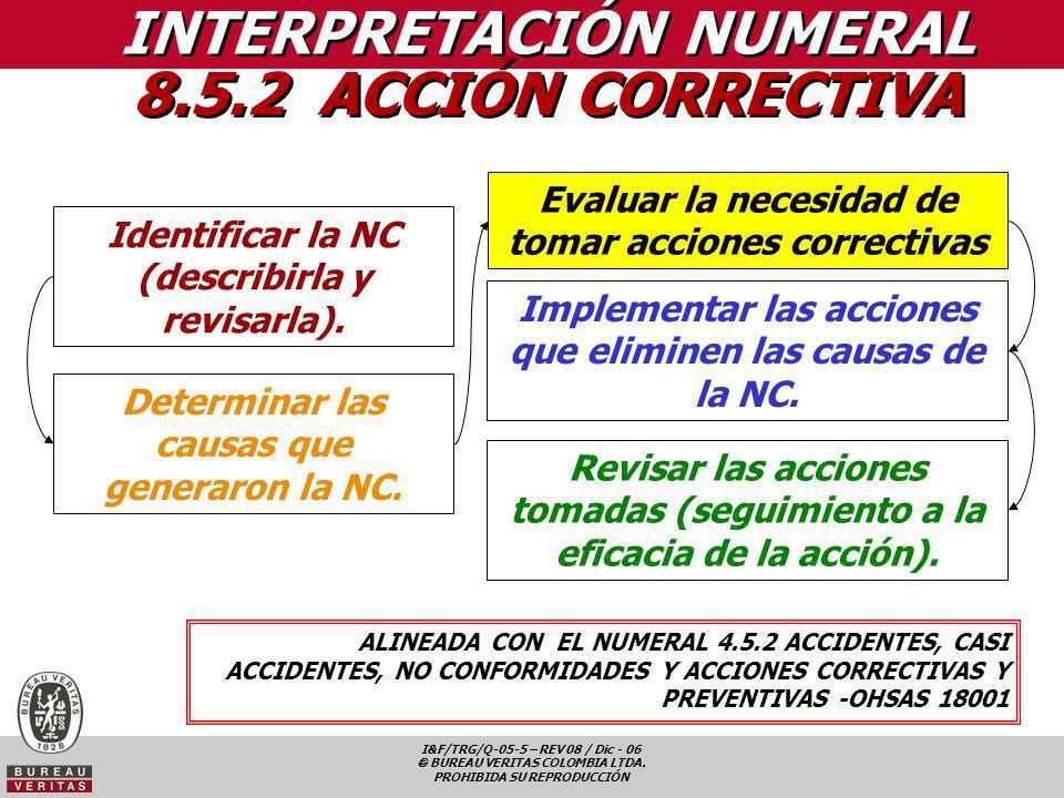 I&F/TRG/Q-05-5 – REV 08 / Dic - 06 BUREAU VERITAS COLOMBIA LTDA. PROHIBIDA SU REPRODUCCIÓN INTERPRETACIÓN NUMERAL 8.5.2 ACCIÓN CORRECTIVA ALINEADA CON