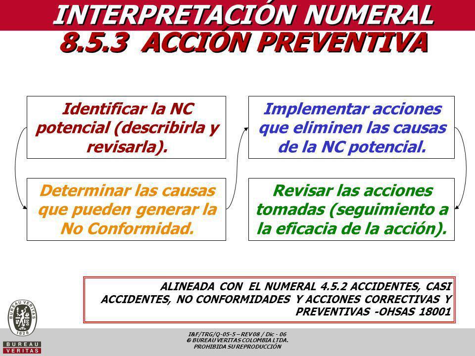 I&F/TRG/Q-05-5 – REV 08 / Dic - 06 BUREAU VERITAS COLOMBIA LTDA. PROHIBIDA SU REPRODUCCIÓN Identificar la NC potencial (describirla y revisarla). Dete