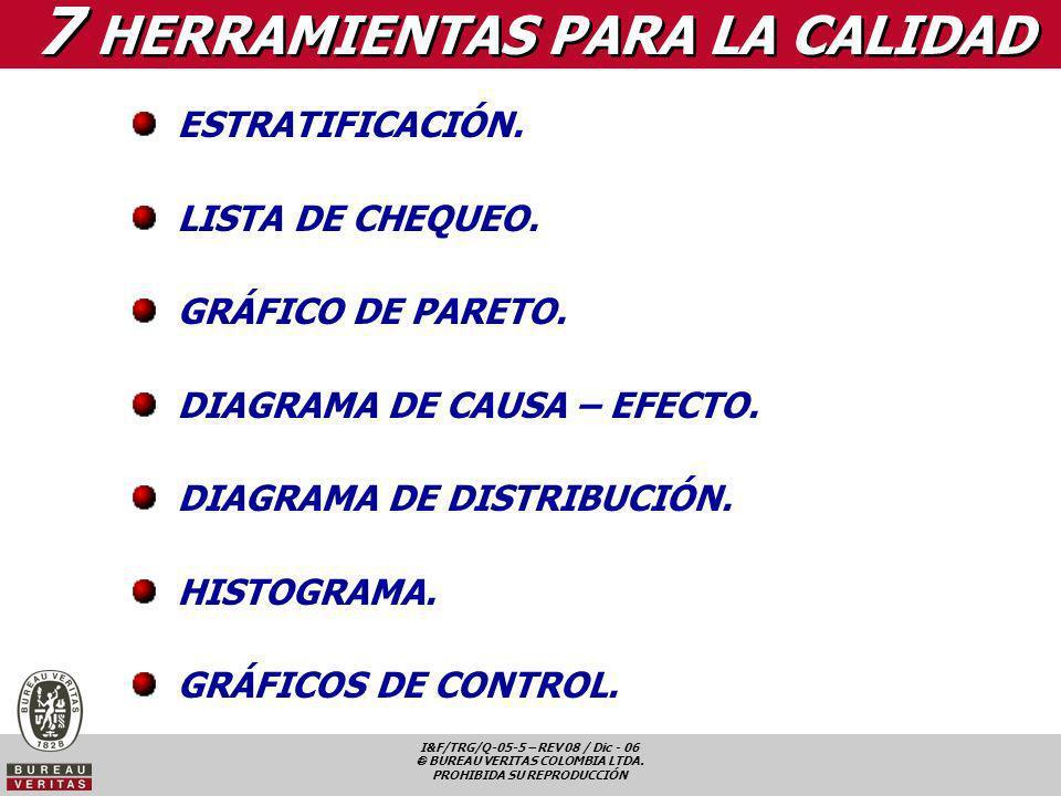 I&F/TRG/Q-05-5 – REV 08 / Dic - 06 BUREAU VERITAS COLOMBIA LTDA. PROHIBIDA SU REPRODUCCIÓN 7 HERRAMIENTAS PARA LA CALIDAD ESTRATIFICACIÓN. LISTA DE CH