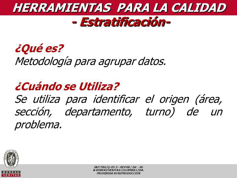 I&F/TRG/Q-05-5 – REV 08 / Dic - 06 BUREAU VERITAS COLOMBIA LTDA. PROHIBIDA SU REPRODUCCIÓN HERRAMIENTAS PARA LA CALIDAD - Estratificación- ¿Qué es? Me