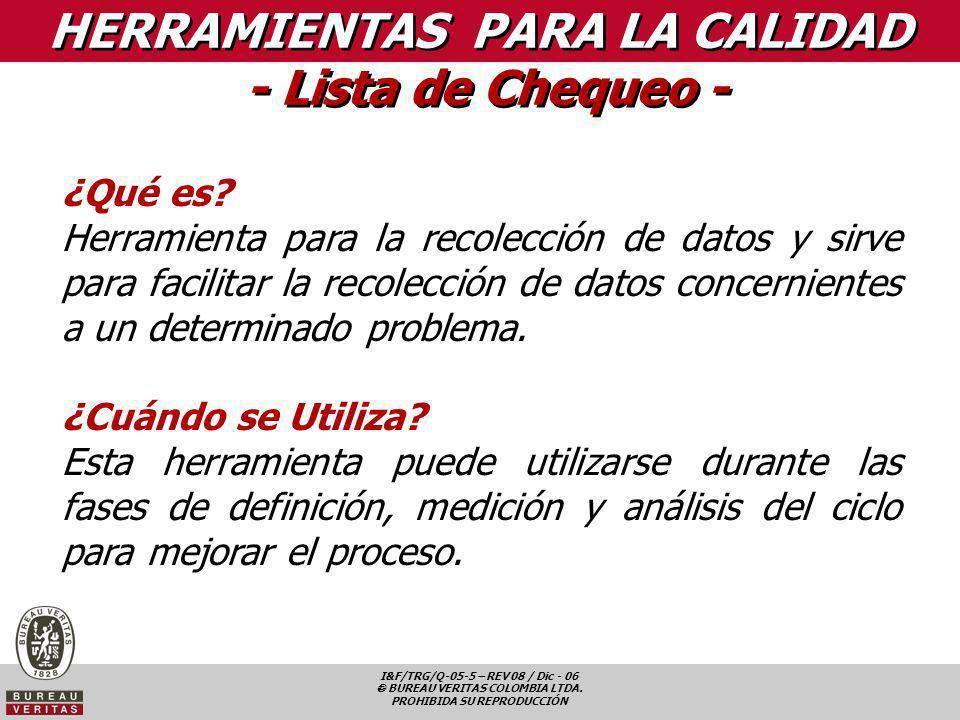 I&F/TRG/Q-05-5 – REV 08 / Dic - 06 BUREAU VERITAS COLOMBIA LTDA. PROHIBIDA SU REPRODUCCIÓN HERRAMIENTAS PARA LA CALIDAD - Lista de Chequeo - ¿Qué es?