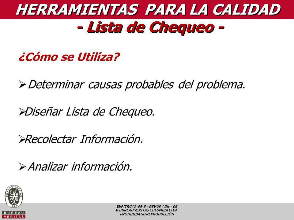 I&F/TRG/Q-05-5 – REV 08 / Dic - 06 BUREAU VERITAS COLOMBIA LTDA. PROHIBIDA SU REPRODUCCIÓN ¿Cómo se Utiliza? Determinar causas probables del problema.