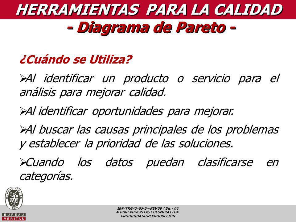 I&F/TRG/Q-05-5 – REV 08 / Dic - 06 BUREAU VERITAS COLOMBIA LTDA. PROHIBIDA SU REPRODUCCIÓN HERRAMIENTAS PARA LA CALIDAD - Diagrama de Pareto - ¿Cuándo