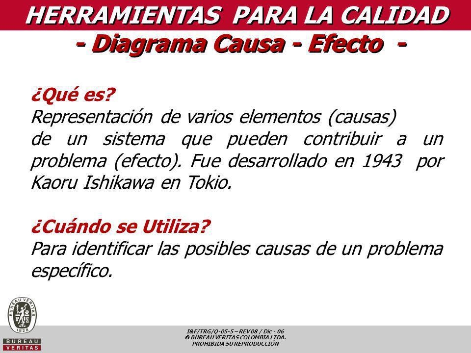 I&F/TRG/Q-05-5 – REV 08 / Dic - 06 BUREAU VERITAS COLOMBIA LTDA. PROHIBIDA SU REPRODUCCIÓN HERRAMIENTAS PARA LA CALIDAD - Diagrama Causa - Efecto - ¿Q