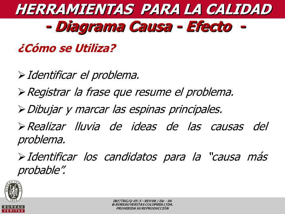 I&F/TRG/Q-05-5 – REV 08 / Dic - 06 BUREAU VERITAS COLOMBIA LTDA. PROHIBIDA SU REPRODUCCIÓN HERRAMIENTAS PARA LA CALIDAD - Diagrama Causa - Efecto - ¿C