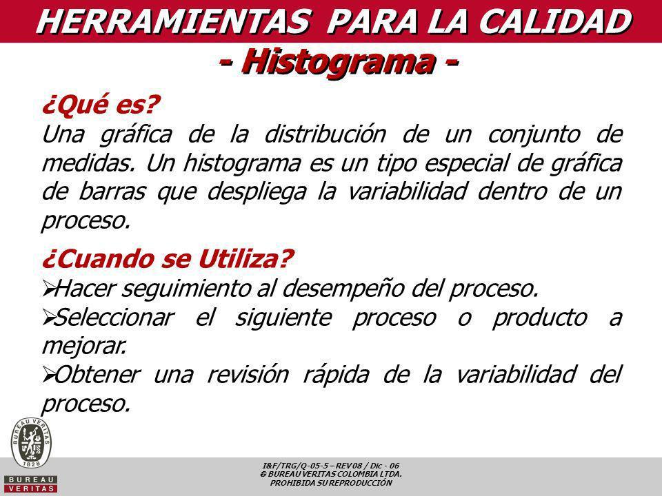 I&F/TRG/Q-05-5 – REV 08 / Dic - 06 BUREAU VERITAS COLOMBIA LTDA. PROHIBIDA SU REPRODUCCIÓN HERRAMIENTAS PARA LA CALIDAD - Histograma - ¿Qué es? Una gr
