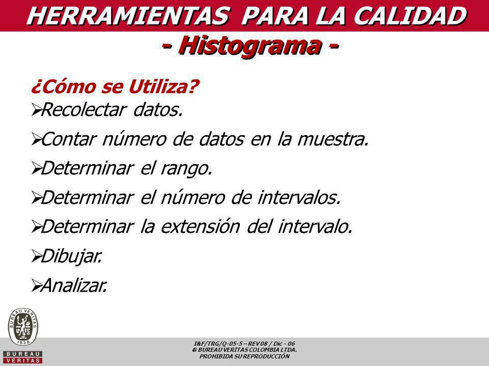 I&F/TRG/Q-05-5 – REV 08 / Dic - 06 BUREAU VERITAS COLOMBIA LTDA. PROHIBIDA SU REPRODUCCIÓN HERRAMIENTAS PARA LA CALIDAD - Histograma - ¿Cómo se Utiliz