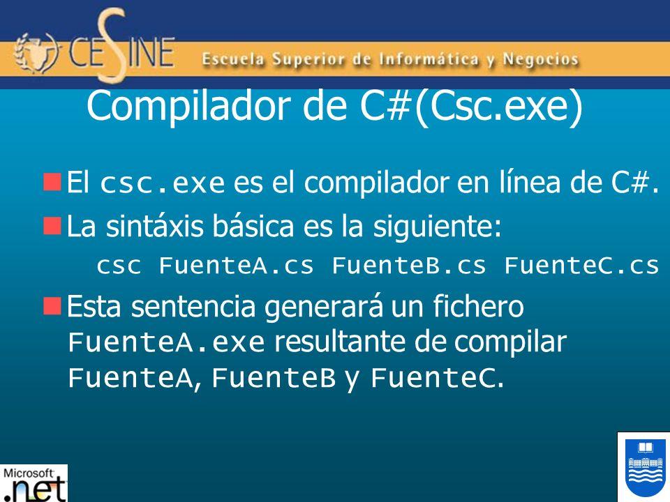 Compilador de C#(Csc.exe) El csc.exe es el compilador en línea de C#. La sintáxis básica es la siguiente: csc FuenteA.cs FuenteB.cs FuenteC.cs Esta se