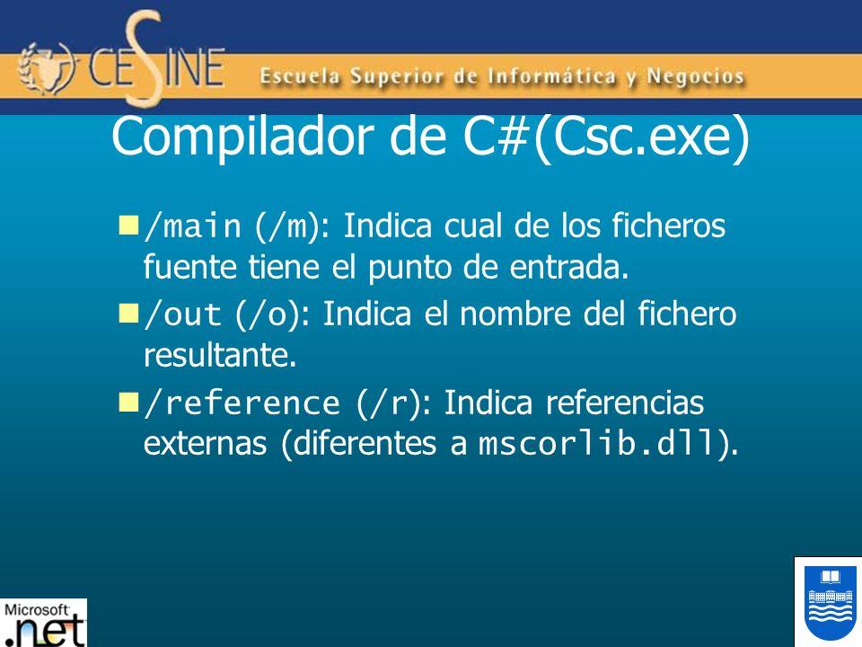 Compilador de C#(Csc.exe) /main ( /m ): Indica cual de los ficheros fuente tiene el punto de entrada. /out ( /o ): Indica el nombre del fichero result