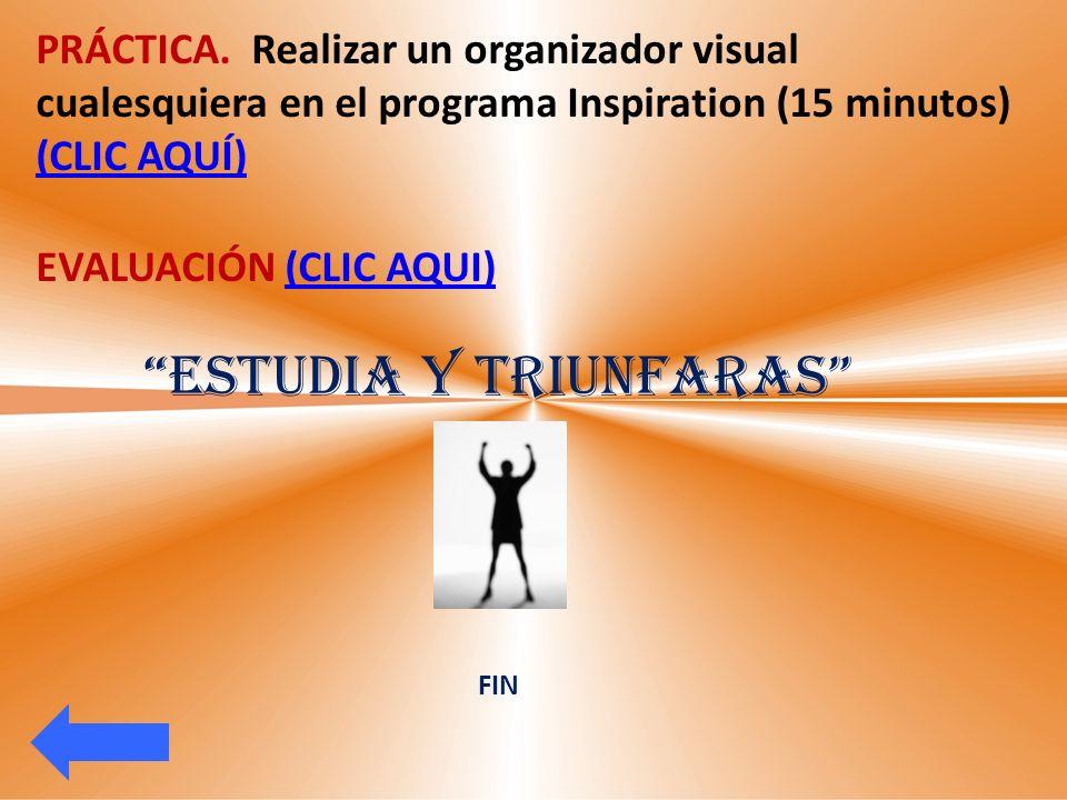 PRÁCTICA. Realizar un organizador visual cualesquiera en el programa Inspiration (15 minutos) (CLIC AQUÍ) (CLIC AQUÍ) EVALUACIÓN (CLIC AQUI)(CLIC AQUI