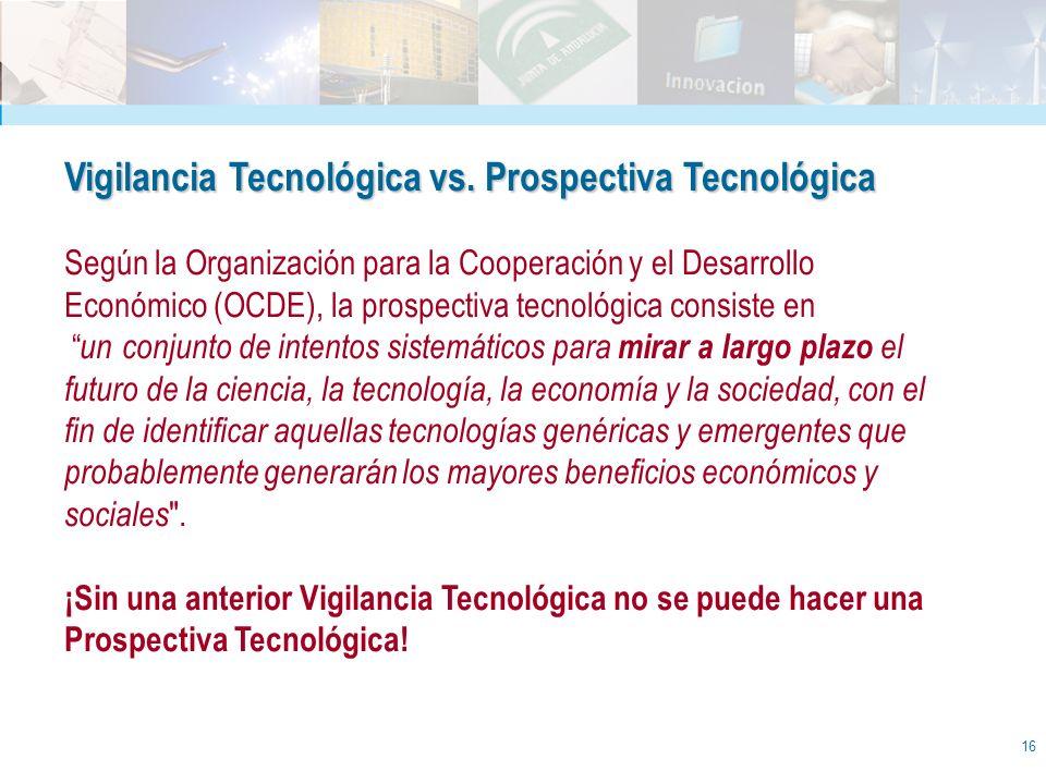 16 Vigilancia Tecnológica vs. Prospectiva Tecnológica Según la Organización para la Cooperación y el Desarrollo Económico (OCDE), la prospectiva tecno