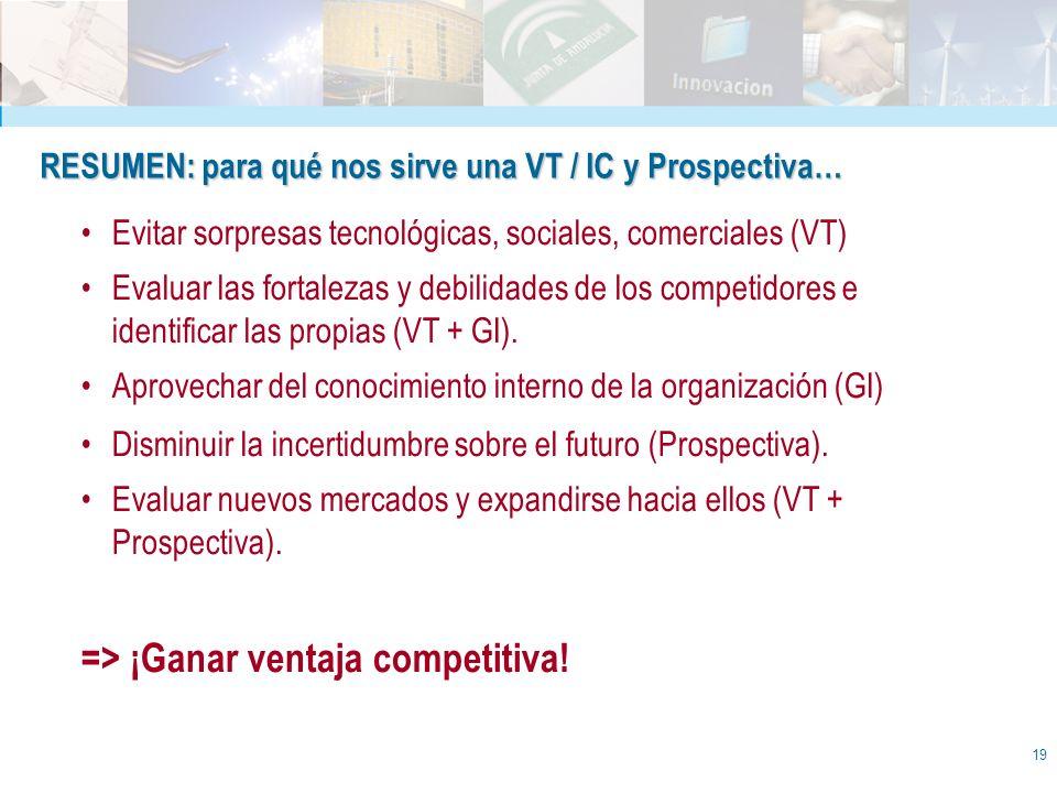 19 RESUMEN: para qué nos sirve una VT / IC y Prospectiva… Evitar sorpresas tecnológicas, sociales, comerciales (VT) Evaluar las fortalezas y debilidad