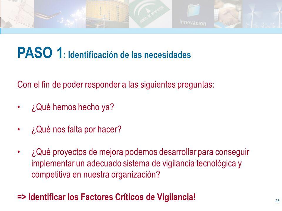 23 PASO 1 : Identificación de las necesidades Con el fin de poder responder a las siguientes preguntas: ¿Qué hemos hecho ya? ¿Qué nos falta por hacer?