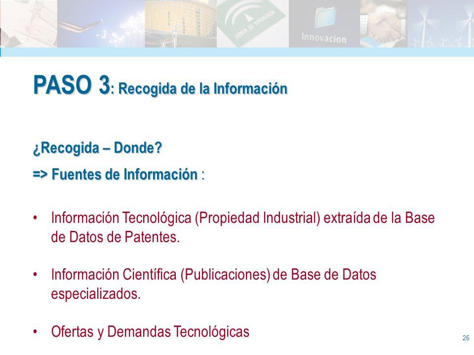 26 PASO 3 : Recogida de la Información ¿Recogida – Donde? => Fuentes de Información : Información Tecnológica (Propiedad Industrial) extraída de la Ba