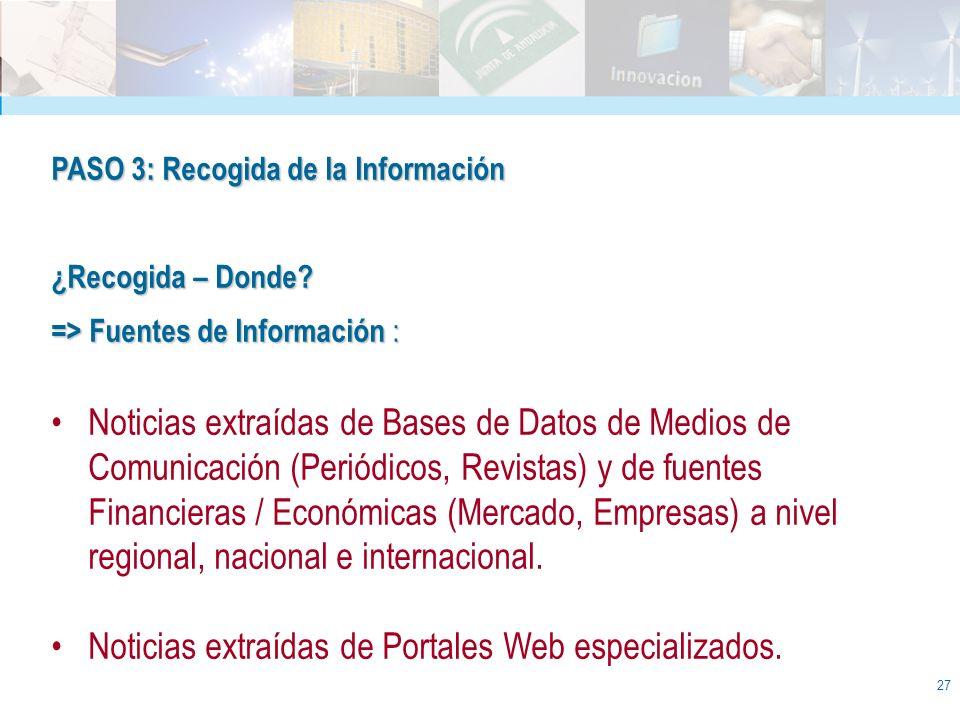 27 PASO 3: Recogida de la Información ¿Recogida – Donde? => Fuentes de Información : Noticias extraídas de Bases de Datos de Medios de Comunicación (P
