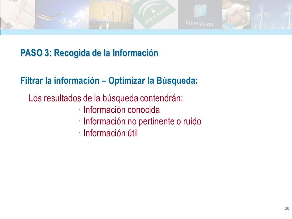 30 PASO 3: Recogida de la Información Filtrar la información – Optimizar la Búsqueda: Los resultados de la búsqueda contendrán: · Información conocida