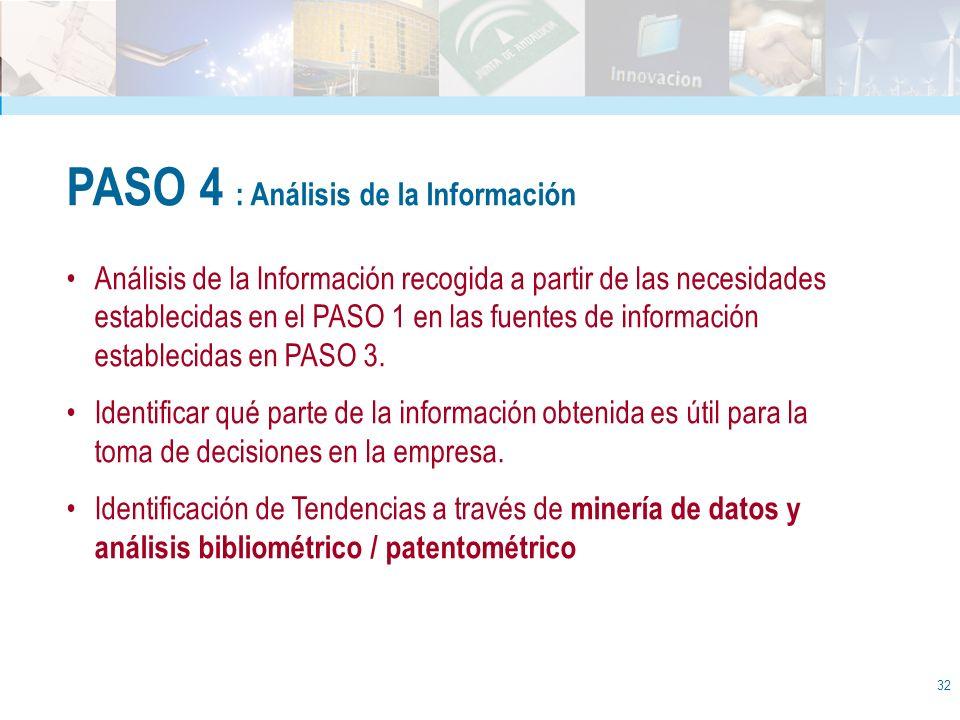 32 PASO 4 : Análisis de la Información Análisis de la Información recogida a partir de las necesidades establecidas en el PASO 1 en las fuentes de inf
