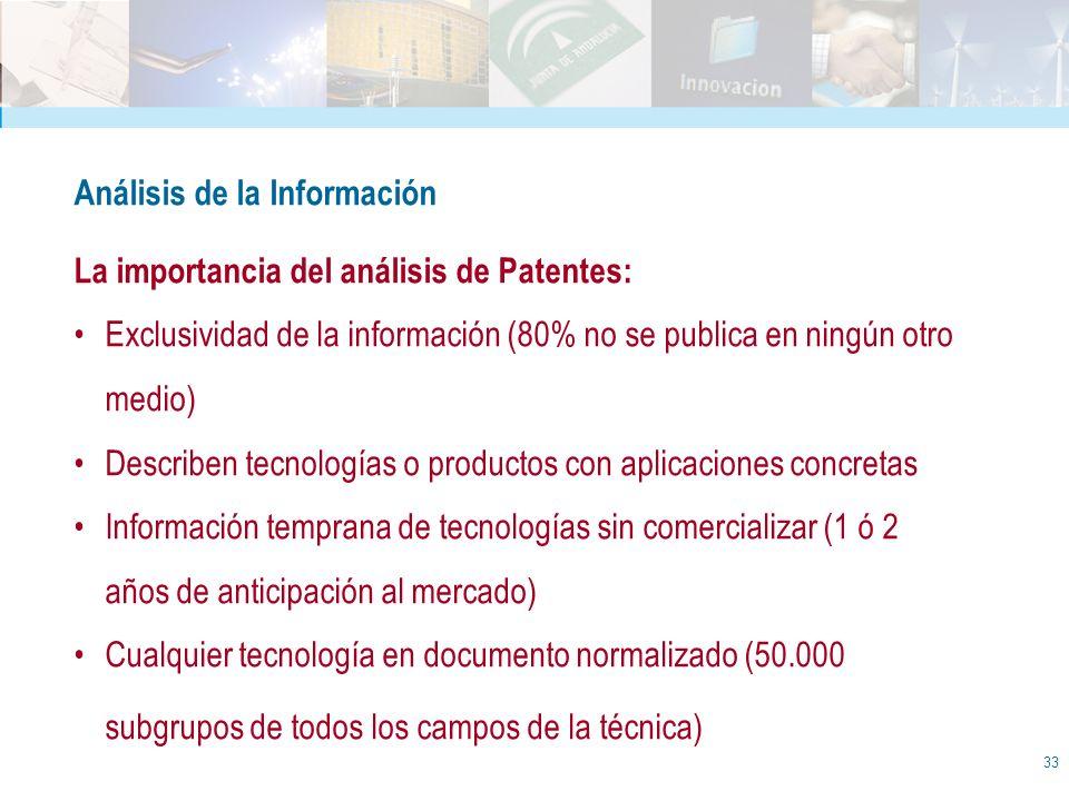 33 Análisis de la Información La importancia del análisis de Patentes: Exclusividad de la información (80% no se publica en ningún otro medio) Describ