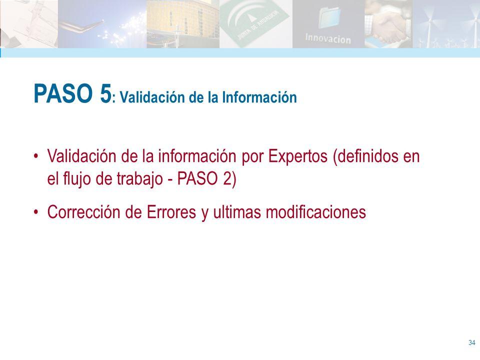 34 PASO 5 : Validación de la Información Validación de la información por Expertos (definidos en el flujo de trabajo - PASO 2) Corrección de Errores y