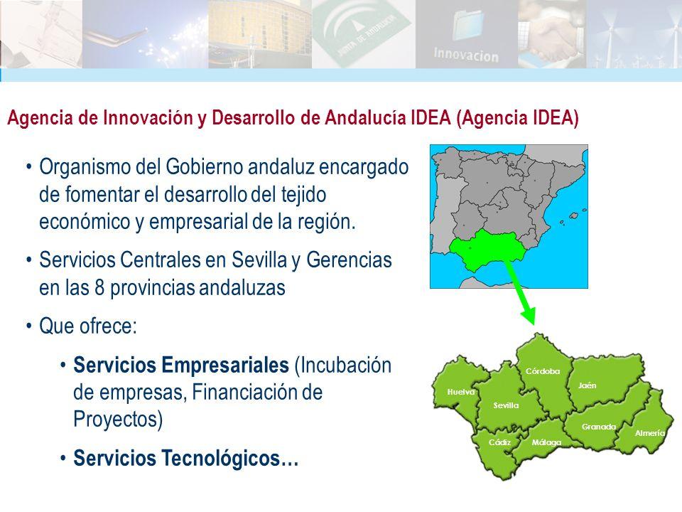 Agencia de Innovación y Desarrollo de Andalucía IDEA (Agencia IDEA) Organismo del Gobierno andaluz encargado de fomentar el desarrollo del tejido econ