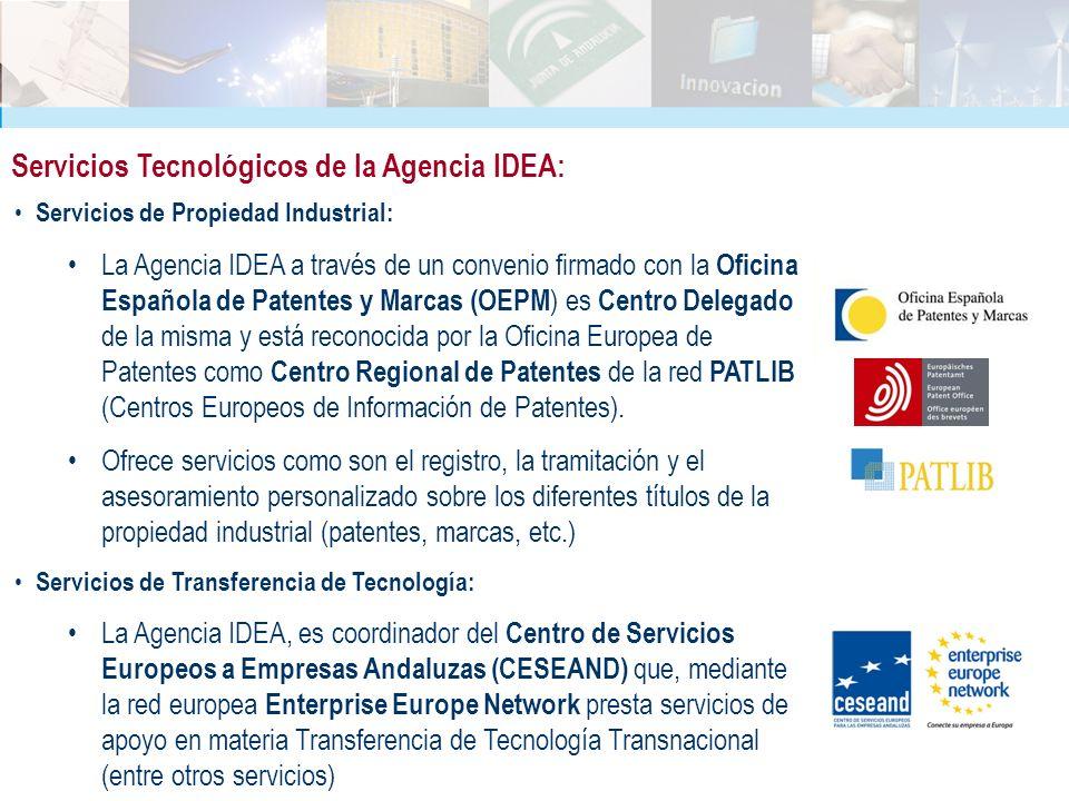 Servicios Tecnológicos de la Agencia IDEA: Servicios de Propiedad Industrial: La Agencia IDEA a través de un convenio firmado con la Oficina Española