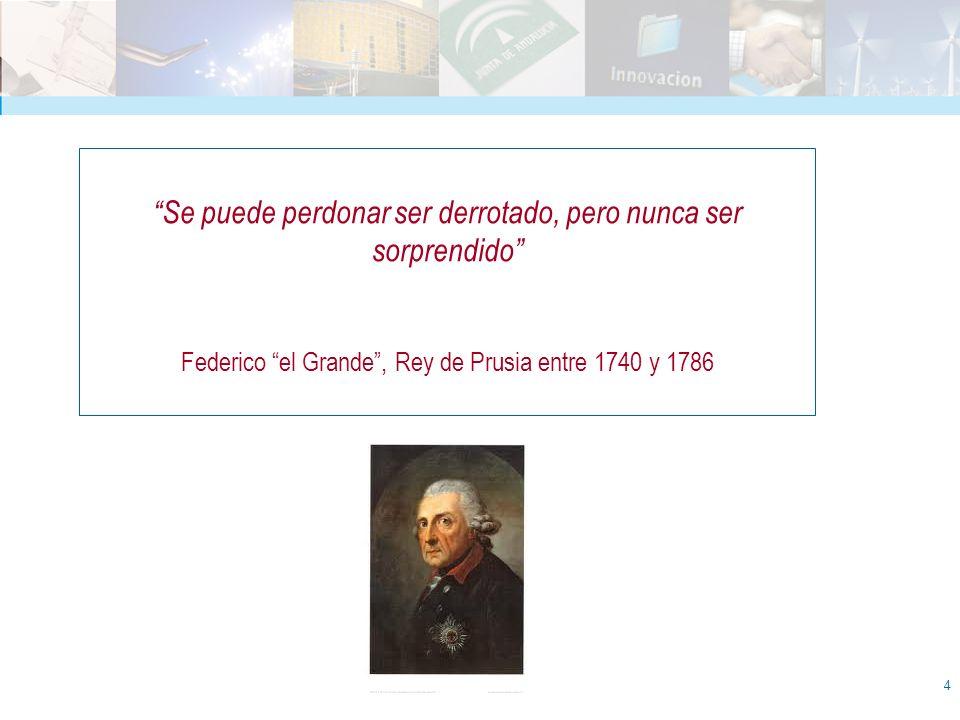 4 Se puede perdonar ser derrotado, pero nunca ser sorprendido Federico el Grande, Rey de Prusia entre 1740 y 1786