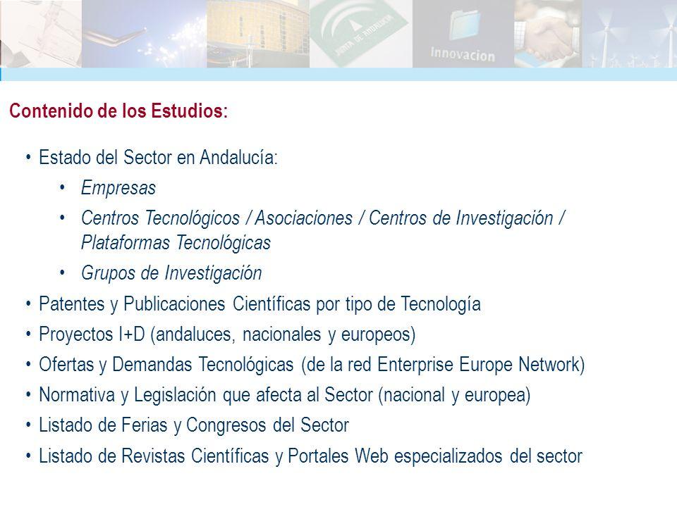 Estado del Sector en Andalucía: Empresas Centros Tecnológicos / Asociaciones / Centros de Investigación / Plataformas Tecnológicas Grupos de Investiga
