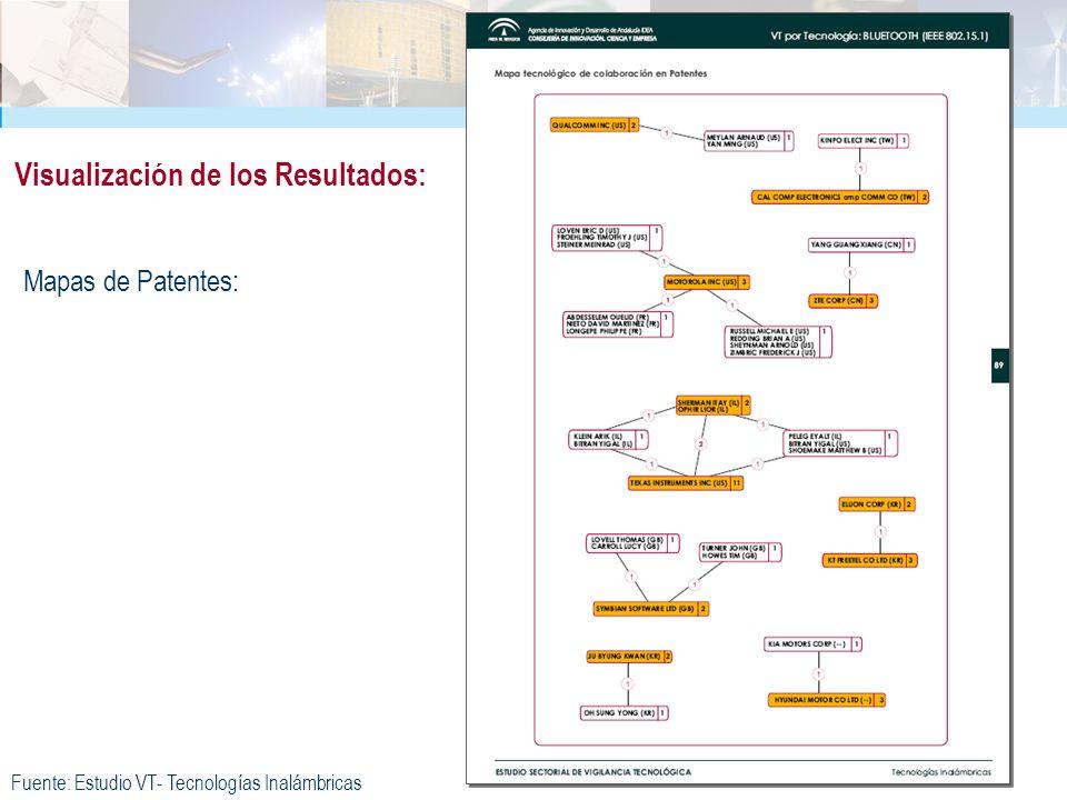 Mapas de Patentes: Visualización de los Resultados: Fuente: Estudio VT- Tecnologías Inalámbricas